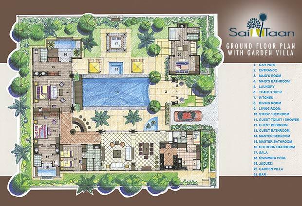 Floor plans sai taan phuket property for Landscape floor plan